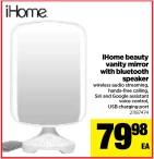 iHome beauty vanity mirror with bluetooth speaker