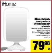 iHome beauty vanity mirror with bluetooth speaker