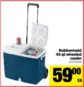 Rubbermaid 45 qt wheeled cooler