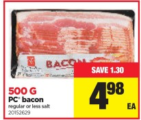 PC bacon regular or less salt at Real Canadian Superstore