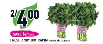Fresh Andy Boy Rapini At Coppas Fresh Market